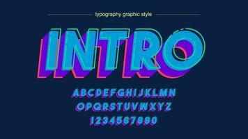 tipografía mayúscula 3d negrita azul