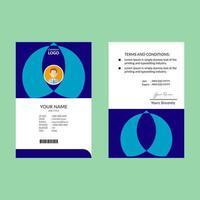 plantilla de diseño de tarjeta de identificación vertical de forma abstracta azul