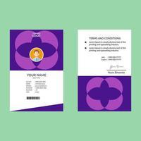 modelo de design de cartão de identificação vertical roxo id