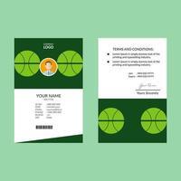 plantilla de tarjeta de identificación de diseño circular limpio verde vector