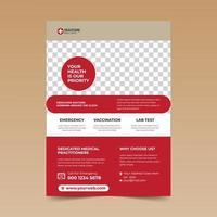 modelo de design de folheto médico vermelho