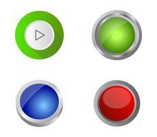 conjunto de botones web verde, azul y rojo vector