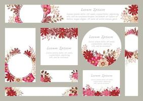 Set of Watercolor Floral Backgrounds With Text Space