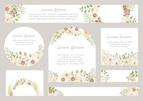 Set of Light Pink Watercolor Floral Backgrounds With Text Space