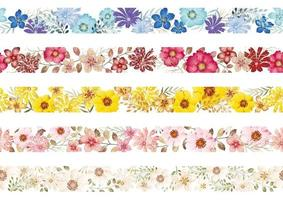 Set Of Seamless Watercolor Floral Borders