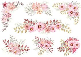 Set Of Pink Watercolor Floral Elements