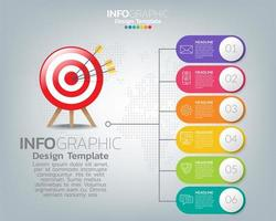 Chart with Target and Six Rounded Banners vector