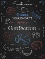 Confection Sketches on Black vector