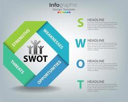 SWOT Analysis Infographic with Ribbon Design