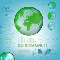 Infografía de globo ecológico azul con elementos de gráfico