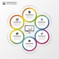 bloemvormige infographic met 6 opties