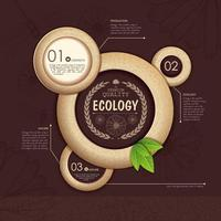 Ecology Infographic with Textured Circles on Brown vector