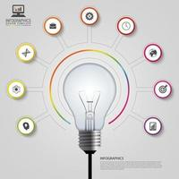 Infographic with Light Bulb Surrounded By Icons