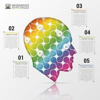 Head Infographic with Rainbow Shapes and Numbers