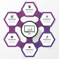 Purple Hexagon Business Infographic with 6 options