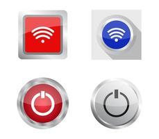 conjunto de botones web rojo, azul y blanco vector