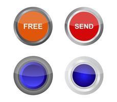 Orange, Red, Blue Web Button Set vector