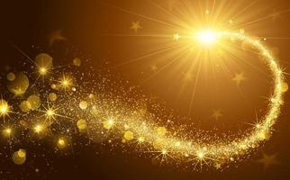 Golden Lights and Stars Christmas Background