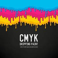 CMYK Dripping Paint on Black vector