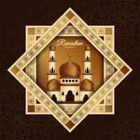 Ramadan Mubarak Poster with Mosque in Star Frame