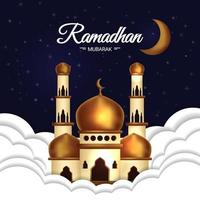 Ramadan Mubarak Poster with Mosque in Clouds