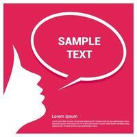 Rostro de mujer con bocadillo sobre fondo rosa vector