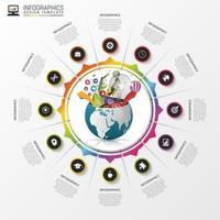 grafico circolare infografica con icone e globo