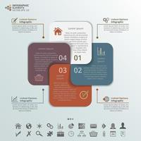 Intertwined Square Card Infographic Elements
