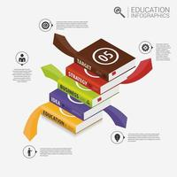 Book Stack with Arrows Infographic