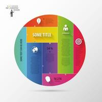 círculo con infografías de secciones coloridas