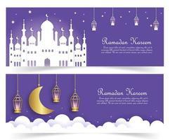 bannière de ramadan kareem en style papier découpé