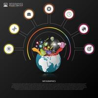Infographic with Elements Spilling from Globe