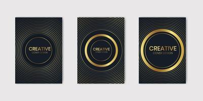 Set of Templates With Circular Golden Texture vector