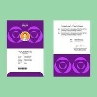 modelo de cartão de identificação de forma geométrica roxa brilhante