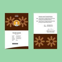 plantilla de tarjeta de identificación estrella geométrica marrón vector