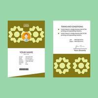 plantilla de tarjeta de identificación de estrella geométrica verde lima