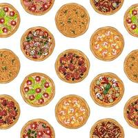 Pizzas recipe pattern vector