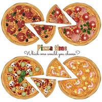 Pizzas of different recipes vector