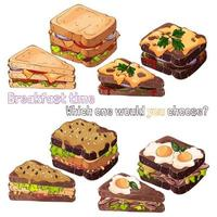 Sandwiches bread kinds vector