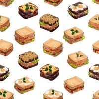 Sandwiches kinds pattern vector