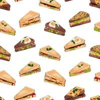 Pattern of different kinds of sandwiches  vector