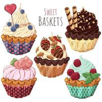 Group of sweet baskets