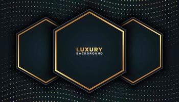 Black Luxury Background with Gold Dots and Hexagons