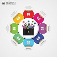 Infografía de elemento colorido de negocio moderno 3D vector