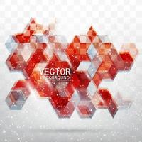 Fondo hexagonal de diseño rojo abstracto