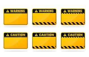 Yellow black warning sign set vector