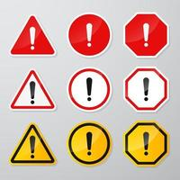 Red and black danger warning sign set vector