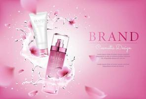 Cherry blossom cosmetic with splashing and pink background