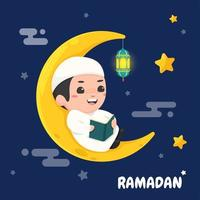 niños musulmanes leen el Corán vector