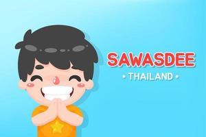 menino cumprimentou com a palavra sawasdee